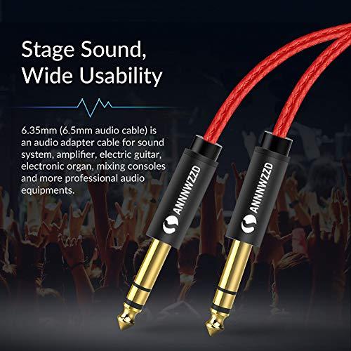 Cable de audio mono de 6,35 mm a 6,35 mm, cable de altavoz profesional TS de 1/4 pulgadas para guitarra eléctrica, bajo, amplificador, teclado instrumento profesional, etc. (2 m)