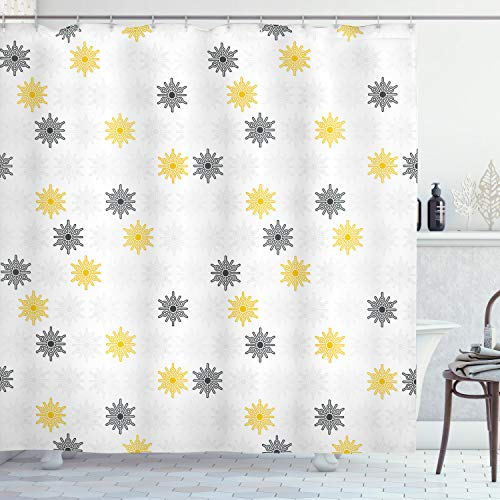 """Ambesonne Grey and Yellow Shower Curtain, Moroccan Style Modern Sun Beam Flowers with Rounds Dots Image, Cloth Fabric Bathroom Decor Set with Hooks, 70"""" Long, Pale Grey"""