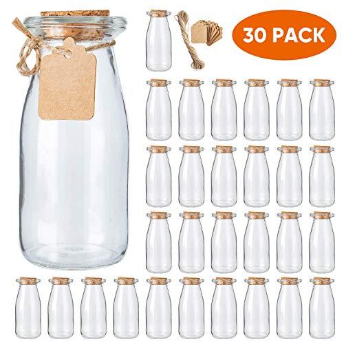 Brajttt 30Pcs Glass Favor Jar with Cork Lids,Pudding Jars with Cork Stopper,Glass Jars with Ice Cream,Glass Yogurt Bottle,Round Milk Glass Jars with Tags and Strings(200 ML,7OZ)