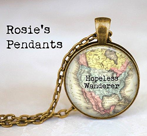 Karte Anhänger Halskette - Hopeless Wanderer - Vintage Karte Nordamerika, Afrika, Europa, Australien, Südostasien, Südamerika, Karibik