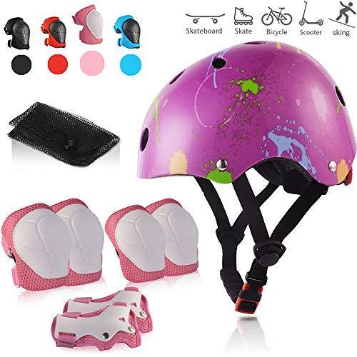 Skybulls キッズプロテクターサイズ 調整可能 保護用 ニーパッド 耐衝撃 高通気性 超軽量 自転車 ヘルメット を付け 共に7点セット アウトドアスポーツを保護に適用
