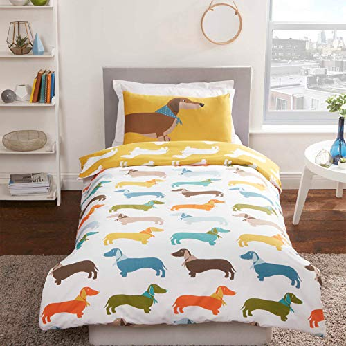 PX's Fun Colourful Ochre Sausage Dog Printed Teen Duvet Cover Quilt Linen Bedding Set (Single)