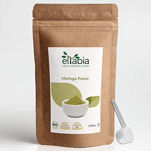 eltabia Bio Moringa Pulver 1kg 1000g Maxi Pack aus kontrolliert biologischen Anbau, 100% rein, ohne Zusätze, Rohkostqualität