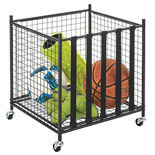 mDesign Metal Rolling Sports Equipment Storage Bin Holder Rack - for Garage, Gym - Holds Sports Equipment, Basket Balls, Soccer Balls, Volley Balls - Strong Sturdy Frame with 4 Locking Wheels - Black