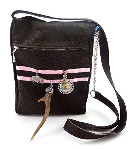 Trachtentasche Dirndltasche Trachten-Umhängetasche mit echtem Horn. Lammnappa-Leder....