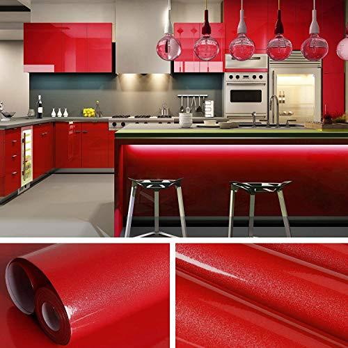 KINLO selbstklebende Folie Küche Rot 61x500cm aus hochwertigem PVC Küchenschränke Küchenfolie Klebefolie Tapeten Küche wasserfest Aufkleber für Schrank Möbelfolie Dekofolie MIT GLITZER