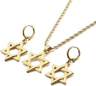 QAZQAZ Israele Stella Esagramma Ciondolo Collane Orecchini Magen David Stelle Esagonali Gioielli Set Tantrismo Stella Ebra...