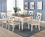 Roundhill Furniture Prato 7-Piece Dining Table Set with Cross Back Chairs, Antique White and Distressed Oak