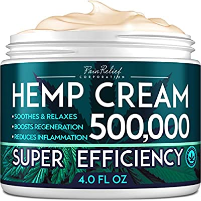 Hemp Pain Relief Cream 500,000 - Natural Hemp Extract Cream for Arthritis, Back Pain & Muscle Pain Relief - Efficient Inflammation Cream & Carpal Tunnel Relief - Made in USA - Good for Skin Health by Pain Relief Inc.