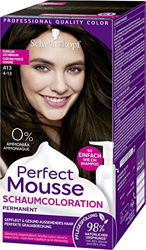 SCHWARZKOPF PERFECT MOUSSE Permanente Schaumcoloration 413 Dunkles Aschbraun Stufe 3, 3er Pack (3 x 92,5 ml)