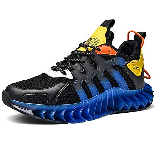 Zapatos para hombre, suaves y flexibles, con hoja de flexión, zapatillas de deporte de malla transpirables y ligeras para hombre, moda hip hop, zapatos deportivos antideslizantes casuales a juego para