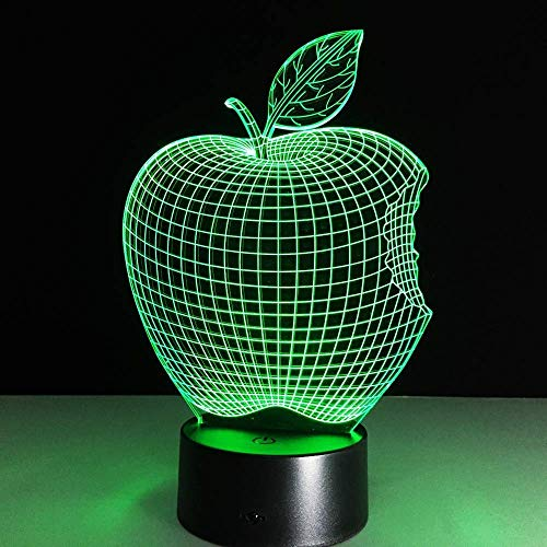 Veilleuse 3D Forme Apple Pomme Veilleuse Illusion Lampe 7 Changement de Couleur Lumières Décoratives Enfants Jouets Tactile avec Télécommande