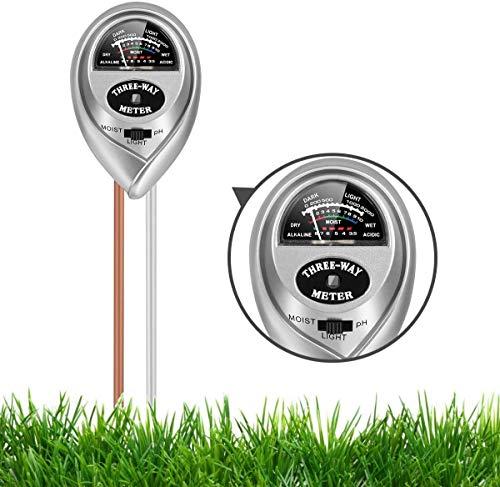Soil pH Meter, Soil Moisture Meter 3-in-1 Soil Tester with Moisture, Light and PH Test, Soil Test Kit for Home/Garden/Farm/Lawn/Indoor & Outdoor