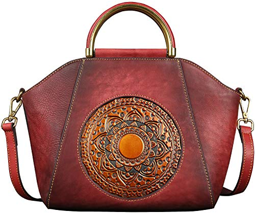 New Fashion Trend Women/Ladies Designer Leather Satchel Handbag Tote Exquisite Embossed Vintage Totem Large Casual Retro Color Genuine Leather of Cowhide Handbag Tote(Bean Paste Red)