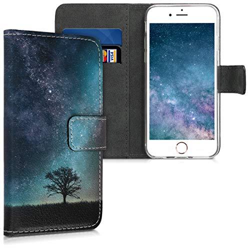 kwmobile Hülle kompatibel mit Apple iPhone 6 / 6S - Kunstleder Wallet Case mit Kartenfächern Stand Galaxie Baum Wiese Blau Grau Schwarz