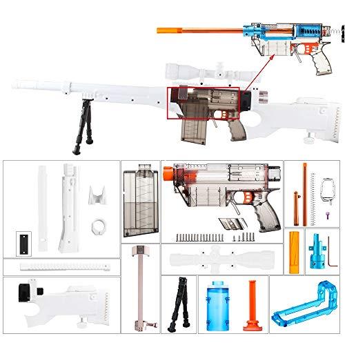 WORKER F10555 Kit de imitación AWP para Nerf Games Modify Toy - Blanco