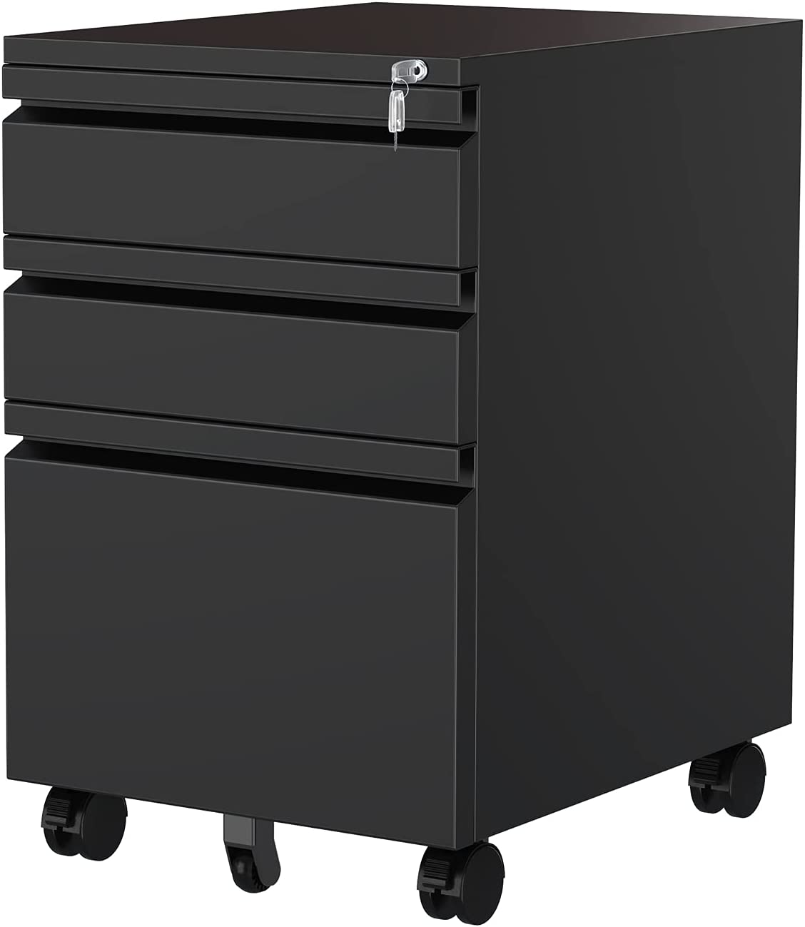 MIIIKO 3 Drawer File Cabinet, Metal Filing Cabinet with Lock Rolling Wheels, Office Storage Cabinet Under Desk,Fireproof Deep Drawers for Hanging Legal Letter Fill, Full Assembled Except Casters