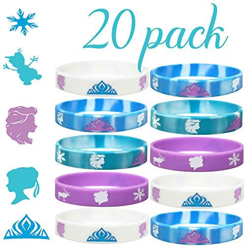 20 pc Birthday Party Favors Wristbands, Elsa, Anna Theme Party Favors (Frozen, Kids)