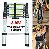 Telescopic 2.6M Aluminum DIY Foldable Extendable Single Straight Multi Purpose Ladder
