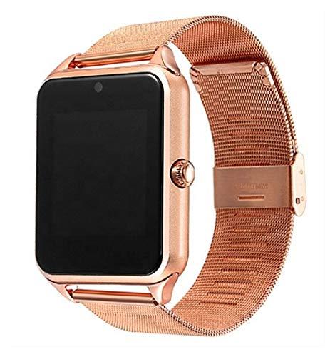 Smart Watch-Metallband-Träger-Kamera- TF-Karte Bluetooth-Schrittzähler Kompatibel Für Android PK Y1 Dz09 V8 Smartwatch (Color : Gold)