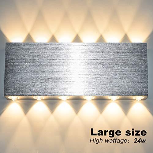 Lightess 24W LED Wandleuchte Innen Up and Down Wandlampe Modern Silber WandbeleuchtungWarmweiss Bleuchtung für Treppenhaus Wohnzimmer Schlafzimmer Flur usw. (Aluminium)