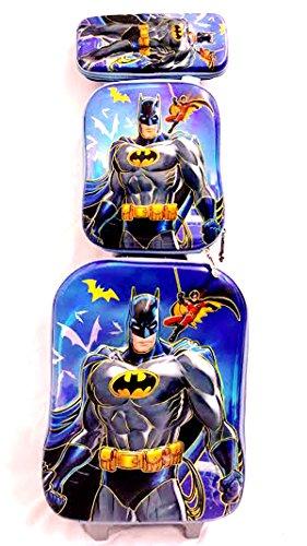 Kids Batman 3D 3 Piece Luggage Trolley Wheel Set Cabin Suitcase Travel