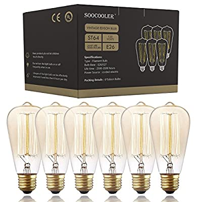 Edison Light Bulbs 25W - Thomas Edison Light Bulb Style - Incandescent Vintage Antique Bulb for Home Light Fixtures - Amber Warm - (6 Pack /110v)