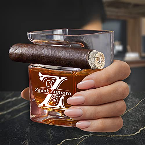 Personalized Whiskey Glass with Cigar Rest Holder, Name Engraved Whiskey Cigar Glass, All Purpose Whiskey Glasses with Cigar Holder for Cocktail Glasses, Highball Glasses, Rocks Glasses