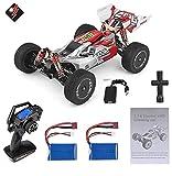 MODELTRONIC Coche RC Profesional Buggy Wltoys XKS 144001 tracción 4X4 emisora LCD 1:14 Alta Velocidad 60km/h Motor 550 con BATERÍA Extra (Rojo)