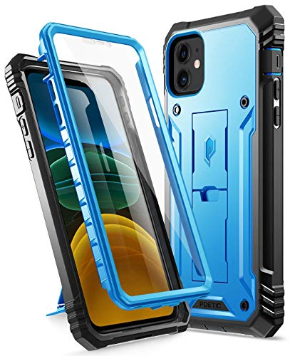 Poetic Apple iPhone 11 Custodia,Robusta con Cavalletto Full-Body Doppio Strato Antiurto, Proteggischermo Integrato, Serie Revolution Custodia per Apple iPhone 11(Release 2019),Blu