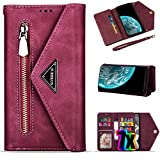 Vodico Samsung Galaxy S10 Wallet Case for Women/Girls with Card Holder, Leather Folio Flip Zipper Pocket Clutch Purse Folding Magnetic Clasp Full Body Shockproof Stand Phone Cover with Strap (Red)