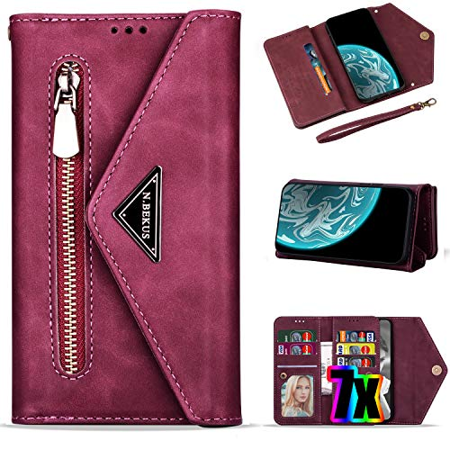 Samsung Galaxy A20 Case Wallet for Women/Girls with Card Holder,Vodico A30 Leather Folio Flip Zipper Pocket Clutch Purse Folding Magnetic Clasp Full Body Shockproof Stand Cover with Strap (Wine Red)