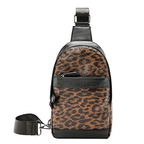 Mochila bandolera de cuerda, diseño de leopardo, multiusos, para viajes al aire libre, senderismo, para hombres y mujeres, color, talla Talla única
