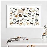 chthsx Hunderassen Sammlung Illustration Poster Wandkunst Leinwand Gemälde Bild Nordic Poster Home Decor - 40x60cm Kein Rahmen