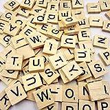 RetroFun - Set di 100 pezzi fatti a mano in legno con lettere dell'alfabeto patatine fritte di parole inglesi giocattoli fai da te per arti e mestieri per