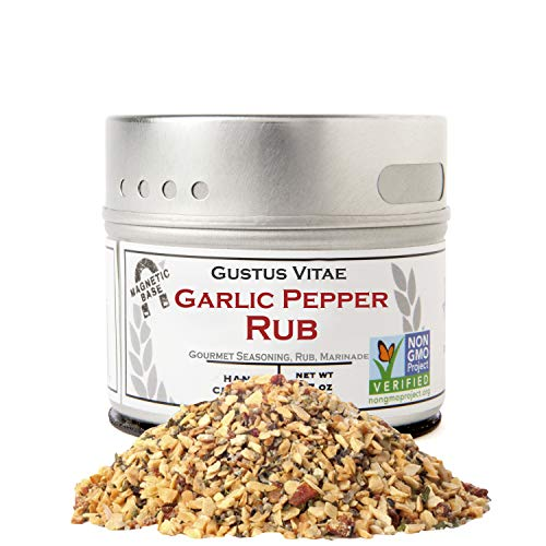 Gustus Vitae - Garlic Pepper Rub - Artisan Seasoning - Non GMO - Gourmet Spice Blend - Magnetic Tin - Crafted in Small Batches - Hand Packed