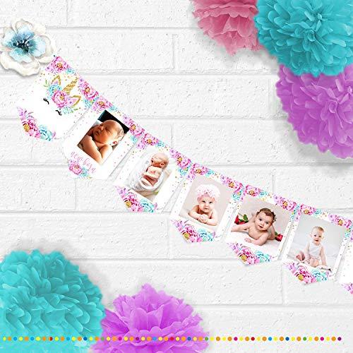 azul marco de fotos de 12 meses y conserva las huellas de las manos y patitas de ni/ños y ni/ños Marco de fotos con huellas de ni/ños reci/én nacidos pared y mesa regalo perfecto para el beb/é
