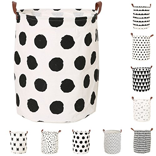 Lesirit Foldable Storage Basket Canvas Storage Bins Round Hamper Bucket Organizer with Durable Handle for Bedroom, Closet, Office, Toys, Laundry from (A1)