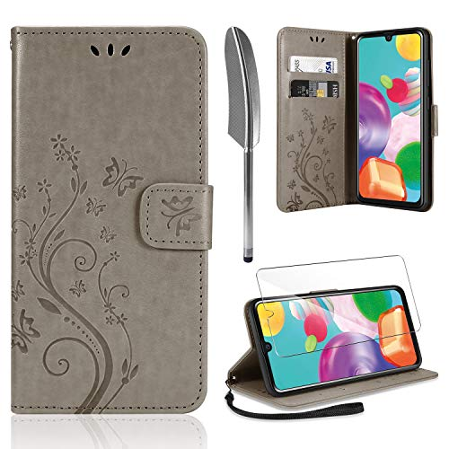 AROYI Lederhülle Samsung Galaxy A41 Hülle + HD Schutzfolie, Samsung A41 Flip Wallet Handyhülle PU Leder Tasche Case Kartensteckplätzen Schutzhülle für Samsung Galaxy A41 Grau