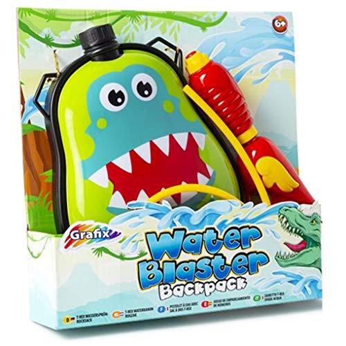 Grafix T-Rex Dinosaur Water Blaster Backpack Gun Green Kids Outdoor Soaker Pistol Boys Kids Toy Gift