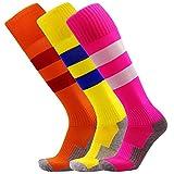 Toddler Soccer Socks Little Kids Long Tube Socks Comfortable Cushioned Bottom (Hot Pink + Orange + Yellow) XS