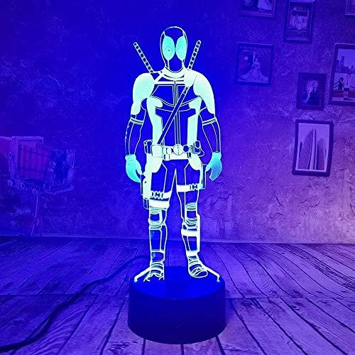 Ahorro de energía Marvel Deadpool Característica LED 3D Night Light 7 colores Touch Remote Kids Fun Sleep Dormitorio Lámpara de mesa Regalos