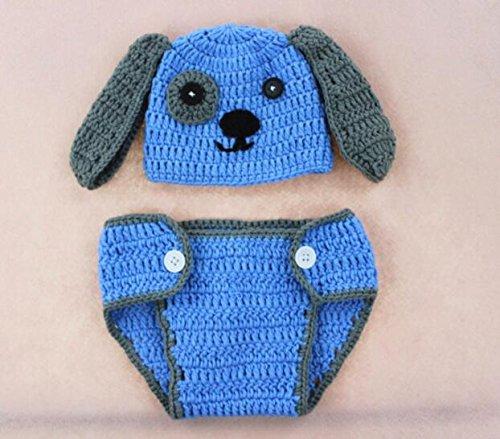 Happy little sheep Ensemble déguisement pour bébé avec Bonnet et Petit Pantalon en Tricot Gris, Laine, Blue,è 色, 42 * 15 * 19