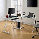 Walker Edison Furniture Company Modern Corner L Shaped Glass Computer Writing Gaming Gamer Command Center Workstation Desk Home Office, 51 Inch, White