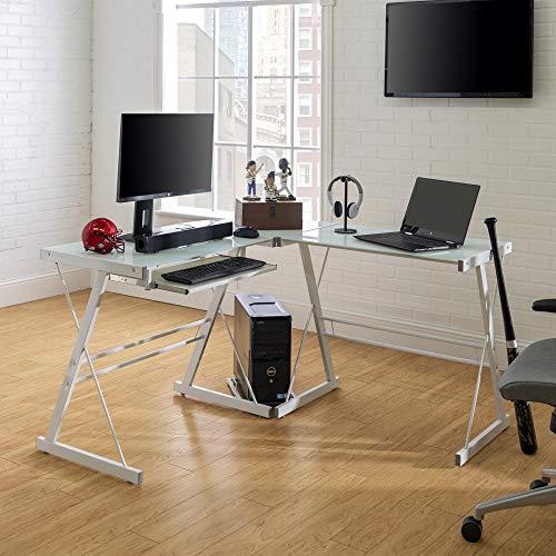 Eden Bridge Designs Laptop-Arbeitstisch mit Regalen, Glas, Weiß, 51 x 51 x 74 cm
