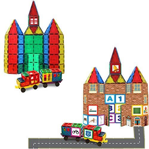 Shapemags Magnet Toys Magnetic Building Tiles StileMags, 100 Picture Tiles,...