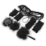 Juego de rol para parejas Juguete Hándcuffš esponjoso con bragas de encaje Palo de plumas Productos para el dormitorio