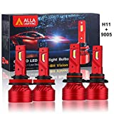 Alla Lighting HB3 9005 High Beam H9 H11 Low Beam LED Headlights Bulbs Combo 9005 H11 Conversion Kits LED Upgrade