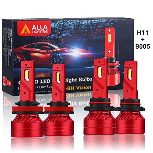 Alla Lighting 9005 H11 LED Bulbs Combo High/Dipped Beam H11 9005 LED 6000K Lights Upgrade, 12000 Lumens Xtreme Vision