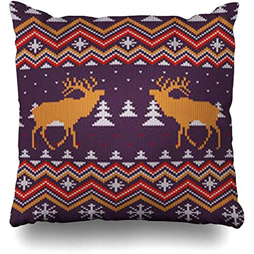Hangdachang Red Deer Christmas Winter Knitted Woolen Forest Trees Coniferous Festive Fir Knit Square Pillow Cover Pillowcase Retro Cushion Cover Double-Sided Printed 18 X 18 Inch